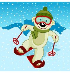 Polar bear skier vector
