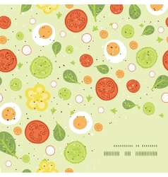 Fresh salad frame corner pattern background vector