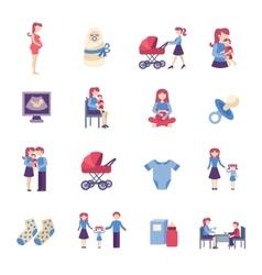 Motherhood flat icons set vector