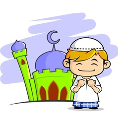 Moslem boy with mosque background vector