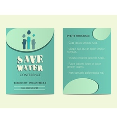 Save water conference flyer and poster invitation vector