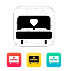 Romantic bed icon vector