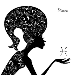 Zodiac sign pisces fashion girl vector