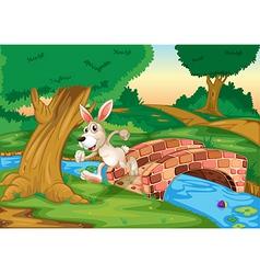 A bunny running across the bridge vector