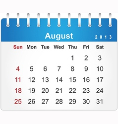 Stylish calendar page for august 2013 vector