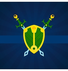 Shield and swords print poster vector