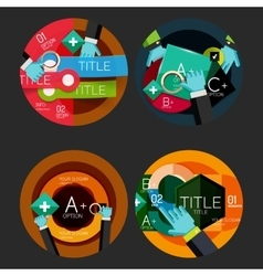 Set of flat design circle option infographics vector