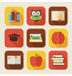 Flat reading knowledge and books squared app icons vector
