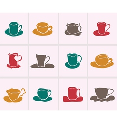 Set of 12 decorative cups vector