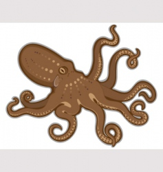 Octopus swimming isolated white background vector