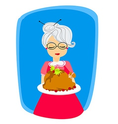 Grandma with a delicious roasted and big turkey vector