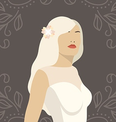 Lovely bride female in wedding dress design vector