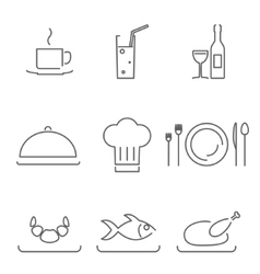 Modern line chef restaurant food cuisine icons and vector