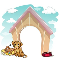 Puppies outside the doghouse vector