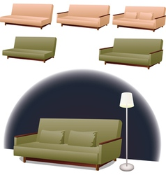 Sofa green and pink vector