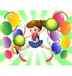 Colorful balloons with a young cheerer vector