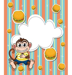 An empty template with a monkey and burgers vector