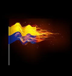 Ukrainian flag in flames the problem of armed vector