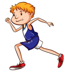 A coloured drawing of a young runner vector
