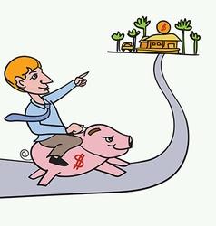 Man riding piggybank heading to his goal vector
