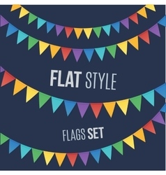 Rainbow colors flat style holiday flags garlands vector