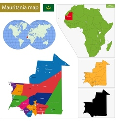 Mauritania map vector
