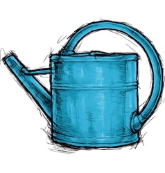 Blue watering can vector