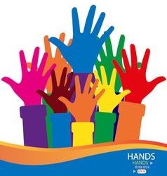 Colorful raised hands vector