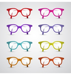 Colorful set of glasses isolated on grey vector
