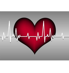 Red heart on grey with cardiogram vector