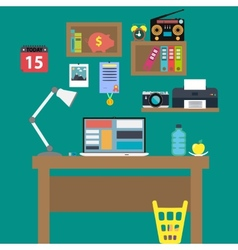 Office workstation with notebook lamp and recorder vector