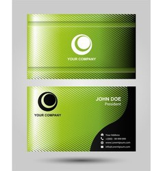 Stylish green wave simple business card template v vector
