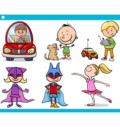 Cute little children cartoon set vector