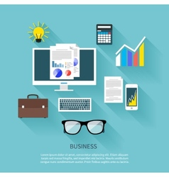 Financier workplace flat design concept vector