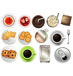 View of the different drinks and beverages vector