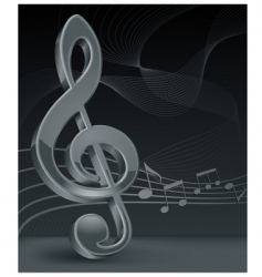 Grey treble clef on black vector