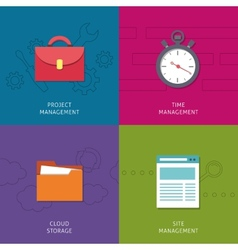 Office management icons set vector
