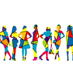 Women silhouettes patterned in colorful mosaic vector
