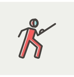 Fencing sport thin line icon vector
