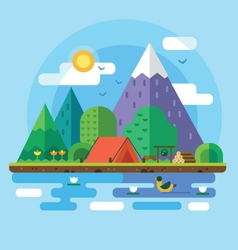 Morning landscape in the mountains vector
