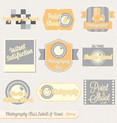 Vintage photography class labels and icons vector