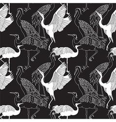 Cranes birds seamless pattern vector