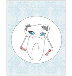 Sad tooth cartoon vector