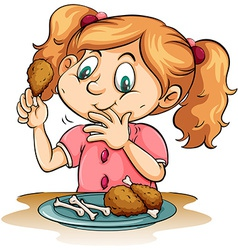 Hungry girl eating chicken vector