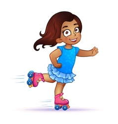 Little girl latina rides on roller skates vector