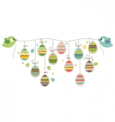 Easter decoration with birds vector