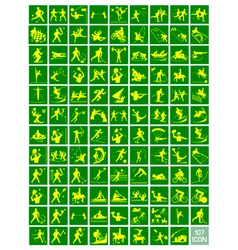 A set of yellow and green sport icons vector