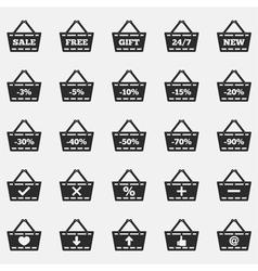Shopping basket icons vector