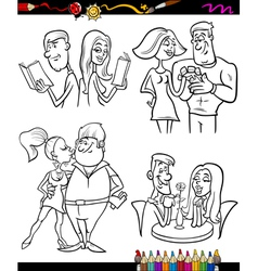 Couples set cartoon coloring page vector