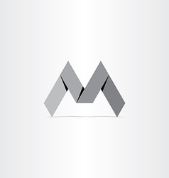 Letter m paper bend icon vector